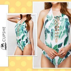 "🍀""NEW"" Green Leaf Corset Swimsuit"